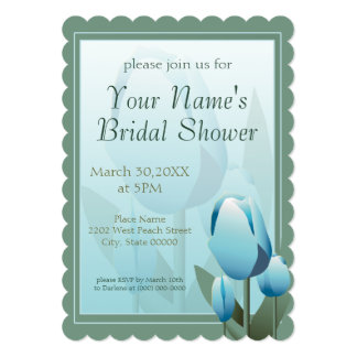 """Spring Tulips Bridal Shower Party Turquoise 5"""" X 7"""" Invitation Card"""