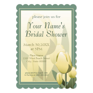 """Spring Tulips Bridal Shower Party Yellow 5"""" X 7"""" Invitation Card"""