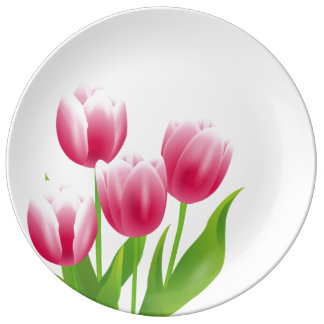 Spring Tulips. Easter Gift Decorative Plates Porcelain Plates