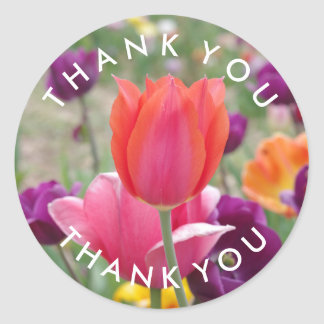 Spring Tulips Flowers Thank You Round Sticker