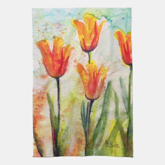 Spring Tulips Kitchen Towel