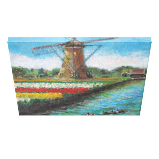Spring Tulips Windmill Landscape Holland Painting Canvas Print