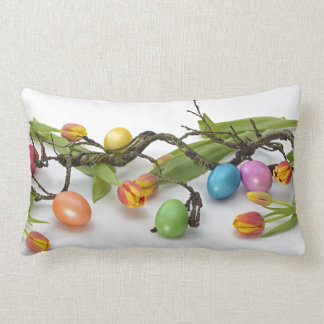 Spring Tulips with Easter Eggs Lumbar Pillow