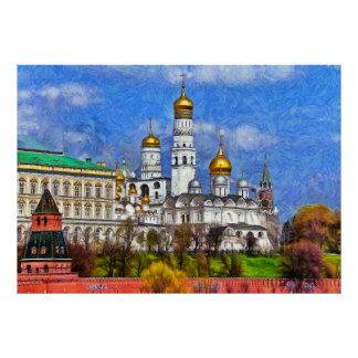 Spring view of the Moscow Kremlin Poster