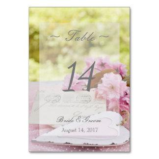 Spring vintage flower love Wedding Table Number