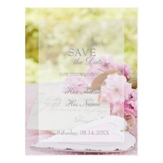 Spring vintage flower loveletter SAVE THE DATE Postcard