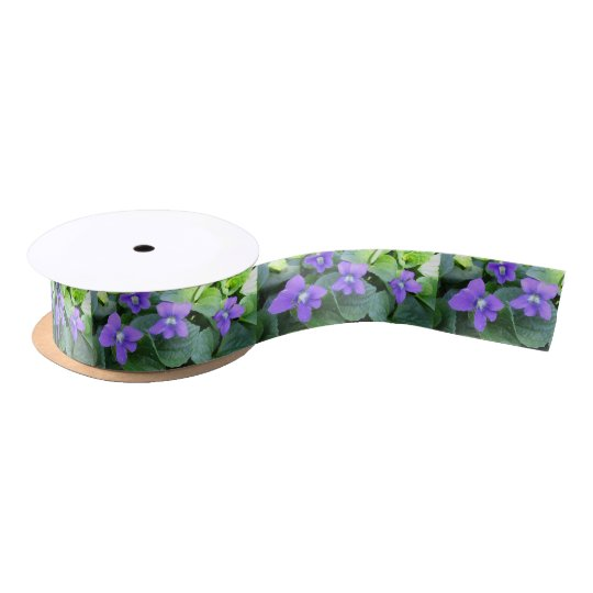Spring Violets Ribbon - Prairie Mile Series Satin Ribbon