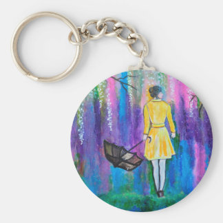 Spring Walk Abstract Landscape colorful painting Basic Round Button Keychain