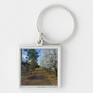 Spring Walk Silver-Colored Square Keychain
