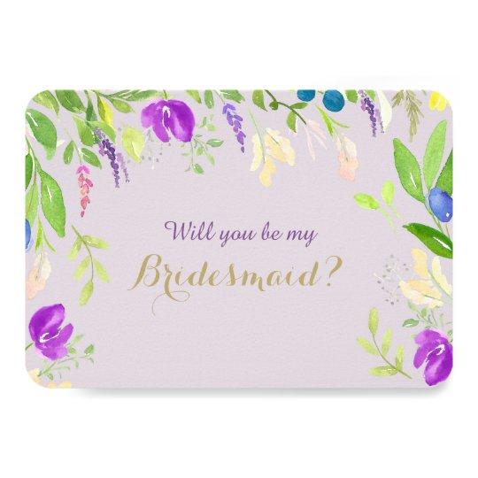 Spring Watercolor Floral Orchid Bridesmaid Card