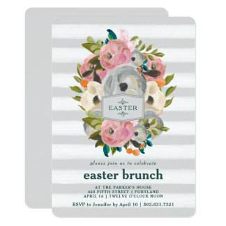 Spring Watercolor Flowers Easter Brunch Invitation