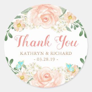 Spring Wedding Favor Blush Peach Flowers Thank You Classic Round Sticker