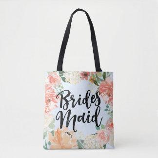 Spring Wedding Peach Watercolor Floral Bridesmaid Tote Bag