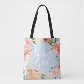 Spring Wedding Peach Watercolor Floral Flower Girl Tote Bag