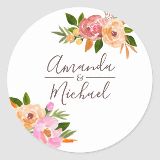 Spring Wedding watercolor flowers Classic Round Sticker
