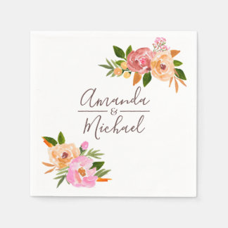 Spring Wedding watercolor flowers Disposable Napkins