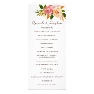 Spring Wedding watercolor flowers Wedding Program