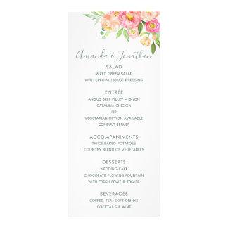 Spring Wedding watercolor Peonies Menu