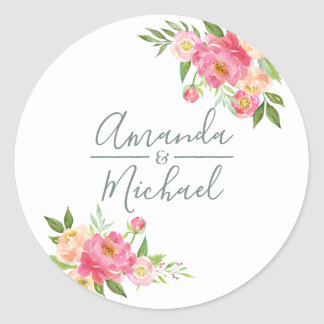 Spring Wedding watercolor Peony flowers Classic Round Sticker