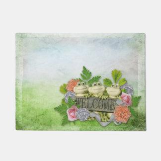 Spring - Welcome 3 Cute Frogs Doormat