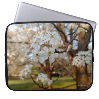 Spring White Blooms on Tree Sunset Computer Bag Computer Sleeve