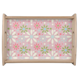 Spring White, Blue and Green Flower Pattern Serving Tray