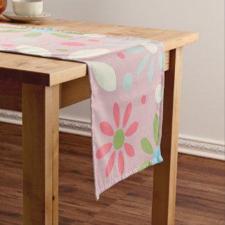 Spring White, Blue and Green Flower Pattern Short Table Runner