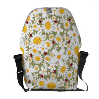 Spring White Daisies Flowers Ladybugs Nature Bag Commuter Bag