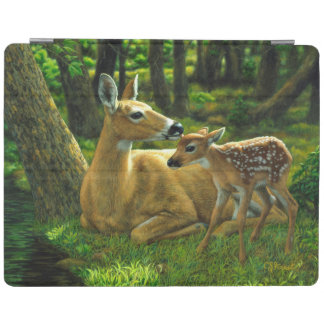 Spring Whitetail Fawn and Mother Deer iPad Cover