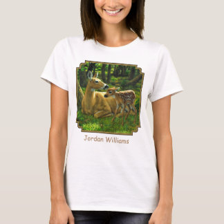 Spring Whitetail Fawn and Mother Deer T-Shirt