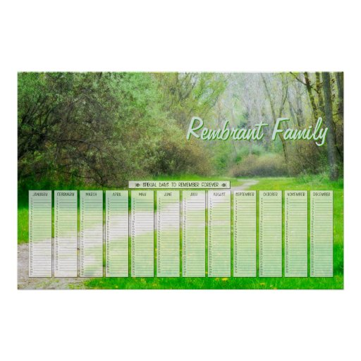 Spring Woods Path Family Special Days Calendar Posters