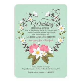 Spring Wreath Wedding Rehearsal Dinner Invitation