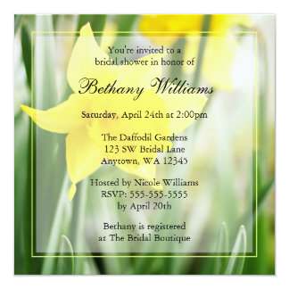 """Spring Yellow Daffodil Flowers Bridal Shower 5.25"""" Square Invitation Card"""