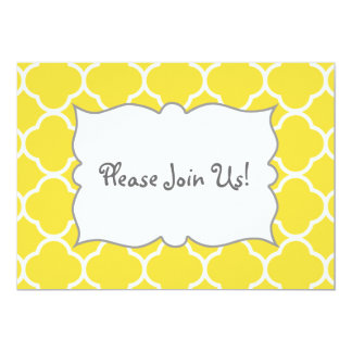 Spring Yellow Quatrefoil Invitation