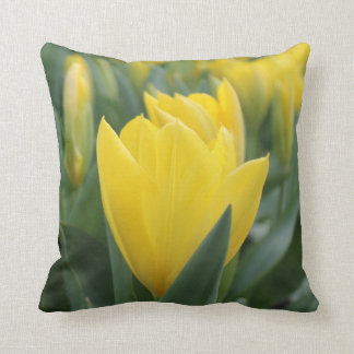 Spring Yellow Tulip Throw Pillow