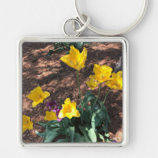 Spring yellow tulip type flowers keychain