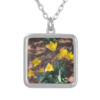 Spring yellow tulip type flowers silver plated necklace