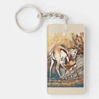 Springbuck Mother and Baby Keyring
