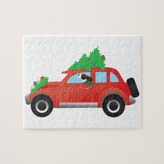 Springer Spaniel Driving car w/ Christmas Tree Jigsaw Puzzle