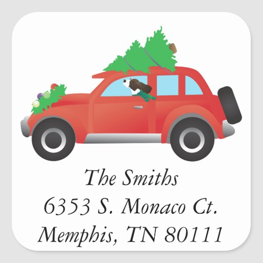 Springer Spaniel Driving car w/ Christmas Tree Square Sticker