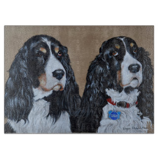 Springer Spaniels Glass Chopping Board
