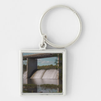 Springfield Lake Dam Silver-Colored Square Keychain