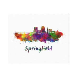 Springfield MA skyline in watercolor Canvas Print