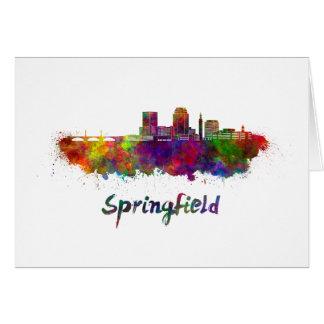 Springfield MA skyline in watercolor Card