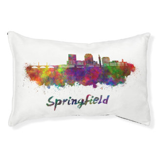 Springfield MA skyline in watercolor Pet Bed