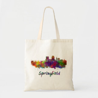 Springfield MA skyline in watercolor Tote Bag