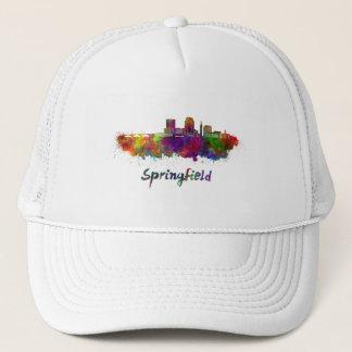 Springfield MA skyline in watercolor Trucker Hat