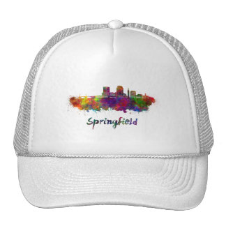 Springfield MA skyline in watercolor Trucker Hat