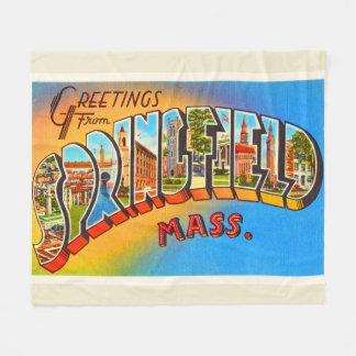 Springfield Massachusetts MA Old Travel Souvenir Fleece Blanket