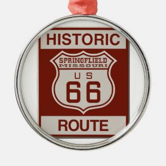 Springfield Route 66 Metal Ornament